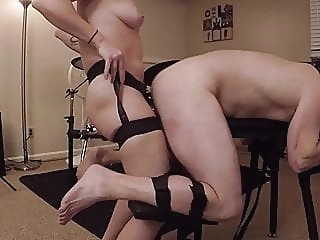 Male Sub being Fucked in Bondage anal fingering bdsm
