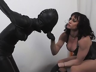 Leather bondage torture bdsm big tits brunette