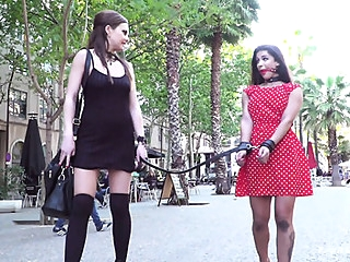 Liberated beauty indulges my submissive girlfriend in public... bdsm public straight