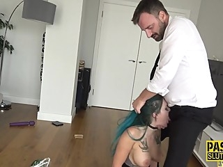Inked dominated goth Alexxa Vice bdsm deepthroat fetish