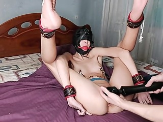 Suspended Bondage by her Ankles in Extremely Challenging Pretzel Position amateur bdsm fetish