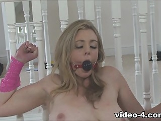 Sapphire Blue in Spread, Gagged and Cumming - TiedVirgins bdsm big tits blonde