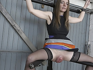Big pussy on the leg spreader sex toy fingering bdsm