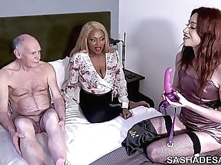 Visiting A Married Couple - TS Sasha de Sade and Ava Black femdom gangbang strapon