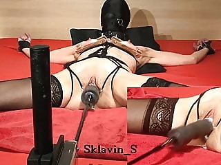 Slave S Bondage on bed 1 Fuckinmachine amateur bdsm squirting