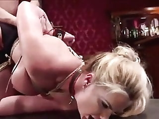 BDSM. Couple have fun to use slave. bdsm stockings spanking