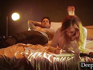 Deeper. Addie Spanked, Choked and Creampied by Small Hands blonde blowjob bdsm