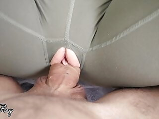 Ripped Yoga Pants And Huge Creampie far Tight Pussy, Stepsis ripped yoga pants